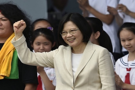 Taiwan's new President Tsai Ing-wen gestures during her inauguration ceremony in Taipei on May 20, 2016.    Beijing-sceptic Tsai took the oath of office at the presidential palace in Taipei after winning a landslide victory in January signalling the end of an eight-year rapprochement with China. / AFP PHOTO / SAM YEH
